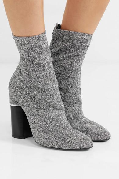 3.1 Phillip Lim Kyoto Sock Boots aus Stretch-Strick in Metallic-Optik