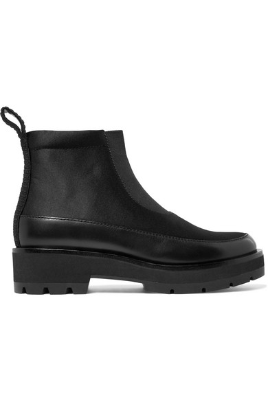 3.1 Phillip Lim Avril Ankle Boots aus Satin mit Lederbesatz