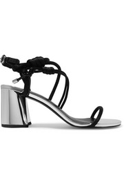 3.1 Phillip Lim Drum knotted satin and mirrored-leather sandals