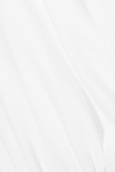 Tibi Oberteil aus Crêpe mit geripptem Jersey-Besatz