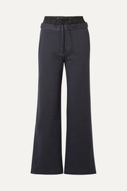 Tibi Layered cotton-jersey and shell track pants