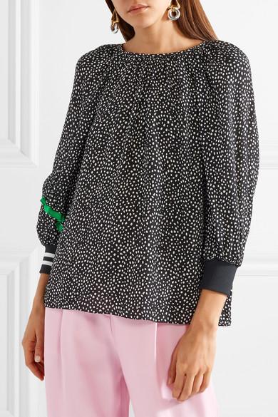 Tibi Martine Crêpe-Bluse mit Polka-Dots und Seidenbesatz