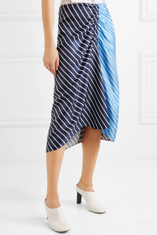 Tibi Delphina ruched striped silk-twill midi skirt