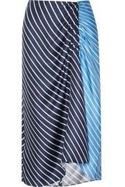 Tibi Delphina ruched striped silk-twill midi skirt