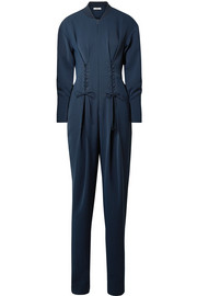 Tibi Lace-up crepe jumpsuit