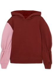 Tibi Two-tone cotton-jersey hooded sweatshirt