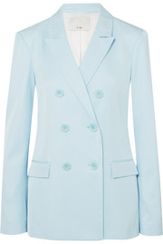 Tibi Double-breasted satin-twill blazer