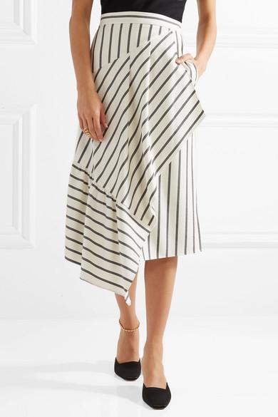 Tibi. Lucci wrap-effect striped twill midi skirt