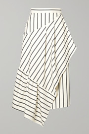 Tibi Lucci wrap-effect striped twill midi skirt