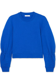 Tibi Gathered cotton-jersey sweatshirt