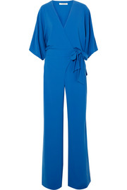 Crepe wrap-effect jumpsuit