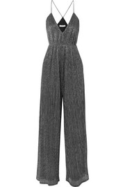 Halston Heritage Plissé metallic stretch-knit jumpsuit