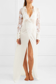 Desert Rose lace, organza and stretch-silk georgette robe