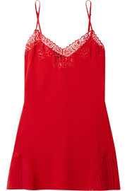 Quartz Garden lace-trimmed stretch-silk chiffon chemise