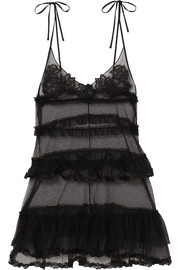 La Perla Love Stone embroidered Swiss-dot stretch-tulle chemise