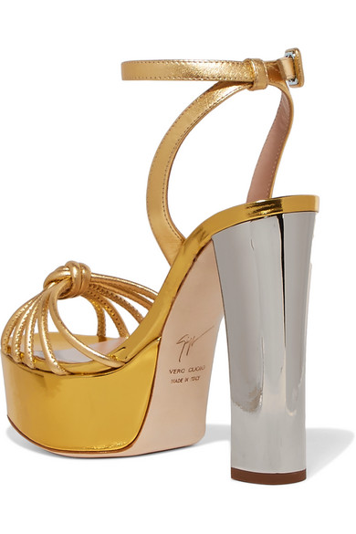 Lavinia Metallic Leather Platform Sandals - Gold Giuseppe Zanotti Yf6rF
