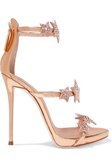 Giuseppe Zanotti - Coline Crystal-embellished Appliquéd Metallic Leather Sandals - Pink at NET-A-PORTER