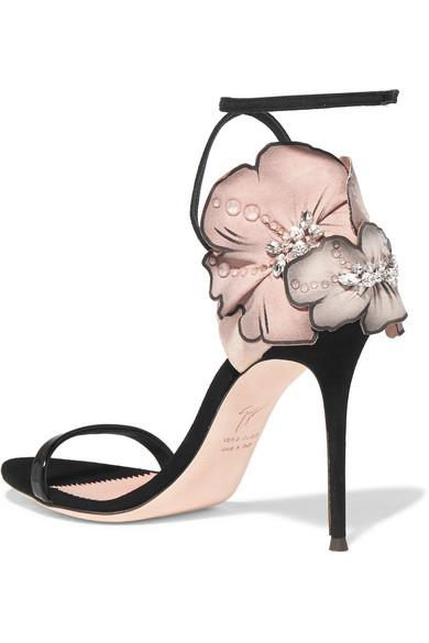 Sandales En Daim à Appliqués Fleuris Mistico - NoirGiuseppe Zanotti AKiWwTQW