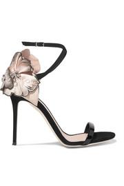 Sandalias de gamuza con aplicaciones florales de Mistico