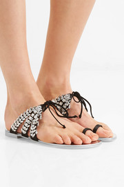 Giuseppe Zanotti Nuvorock crystal-embellished suede and satin sandals