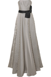 Strapless striped faille gown