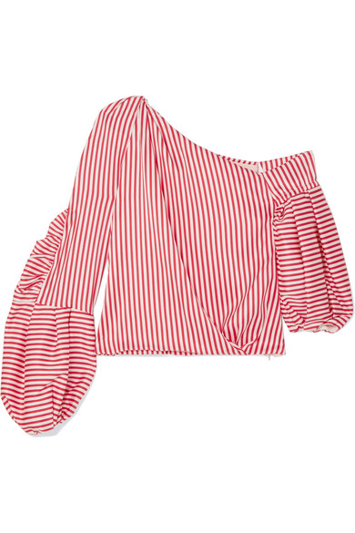 Hellessy Hilda Striped Uppers Of Twill From A Silk Blend With Asymmetric Shoulder