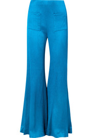 Luc plissé silk-satin flared pants