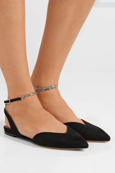 Tabitha Simmons Vera flache Schuhe mit spitzer Kappe und Kettenbesatz