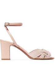 Sabby grosgrain-trimmed leather sandals