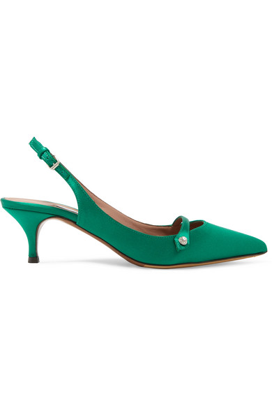 Tabitha Simmons - Layton Crystal-embellished Satin Slingback Pumps - Emerald at NET-A-PORTER
