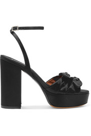 Tabitha Simmons Jodie bow-embellished satin platform sandals