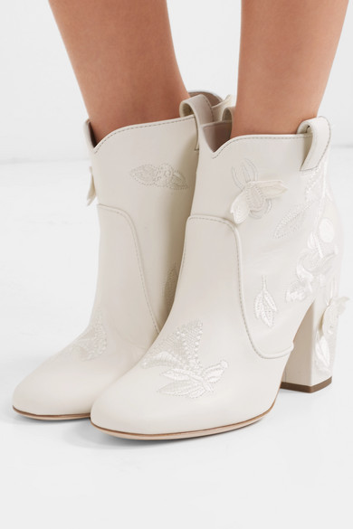 Pete Embroidered Leather Ankle Boots by Laurence Dacade