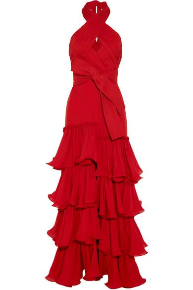 Halterneck ruffled silk-georgette gown