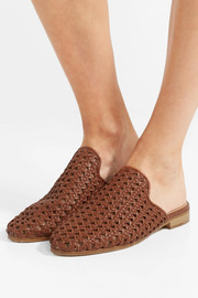 Woven leather slippers