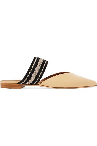 Malone Souliers - Roksanda Hannah Canvas-trimmed Leather Slippers - Beige