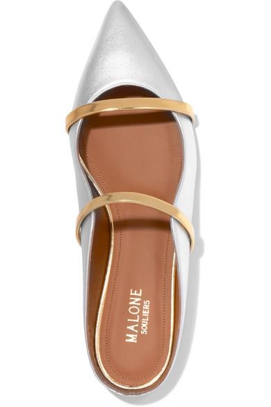 Malone Souliers | Maureen flache aus Schuhe mit spitzer Kappe aus flache Metallic-Leder 4e2831