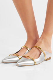 Maureen metallic leather point-toe flats
