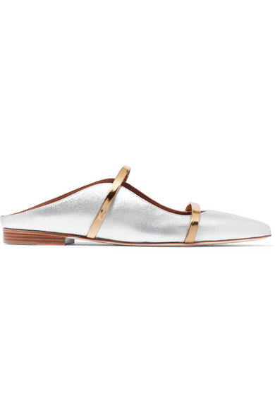 Malone Souliers - Maureen Metallic Leather Point-toe Flats - Silver