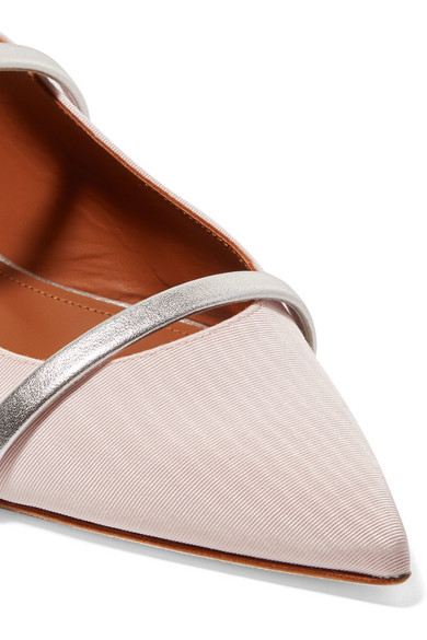 Malone Souliers Maureen flache Schuhe aus Moiré mit spitzer Kappe und Besatz aus Metallic-Leder