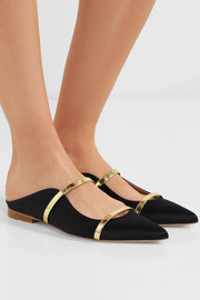Maureen metallic leather-trimmed satin point-toe flats