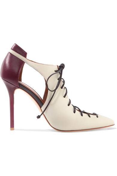 Malone Souliers - Montana Cutout Two-tone Leather Pumps - Ivory