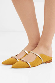 Maureen metallic leather-trimmed moire point-toe flats