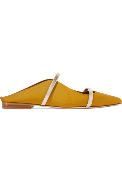 Malone Souliers - Maureen Metallic Leather-trimmed Moire Point-toe Flats - Gold