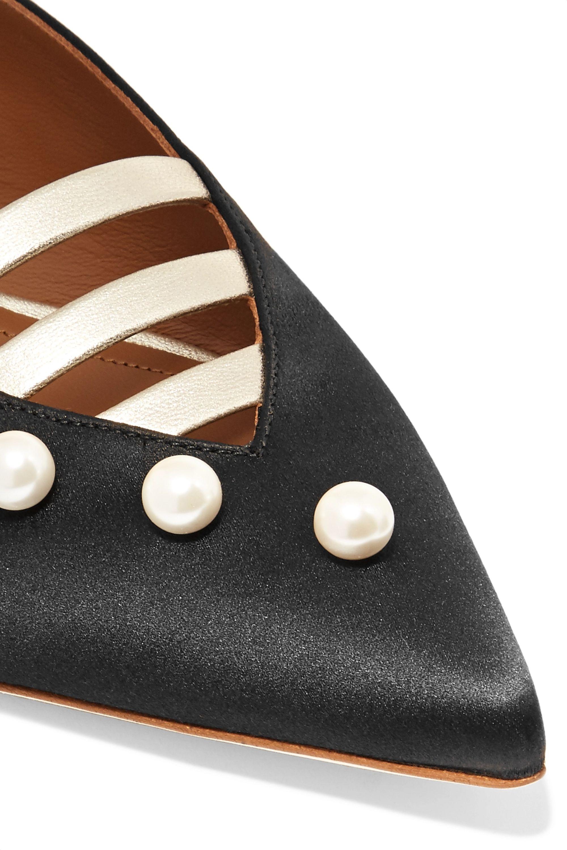Malone Souliers Zelda embellished metallic leather-trimmed satin slippers