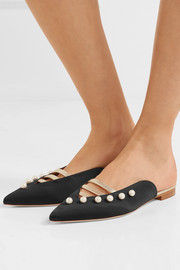 Zelda embellished metallic leather-trimmed satin slippers