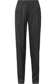 Pleated silk-satin tapered pants