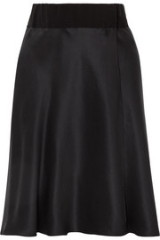 Giorgio Armani Grosgrain-trimmed silk-satin wrap skirt
