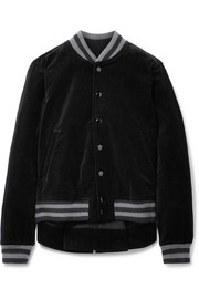 The Great The Swingy asymmetric cotton-velvet bomber jacket