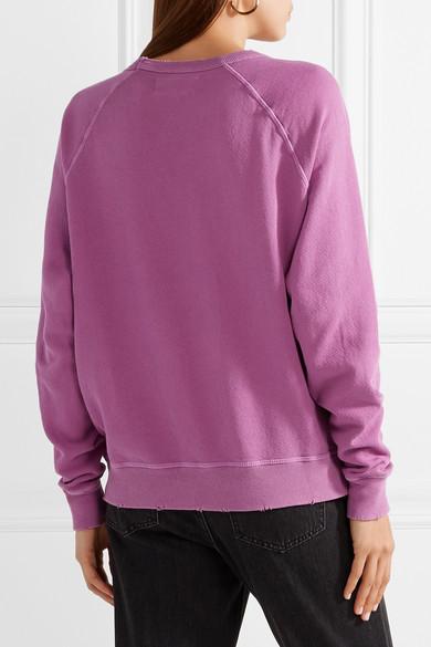 The Great The College bedrucktes Sweatshirt aus Baumwollfrottee in Distressed-Optik