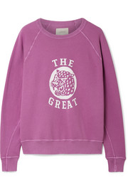 The Great The College distressed printed cotton-terry sweatshirt